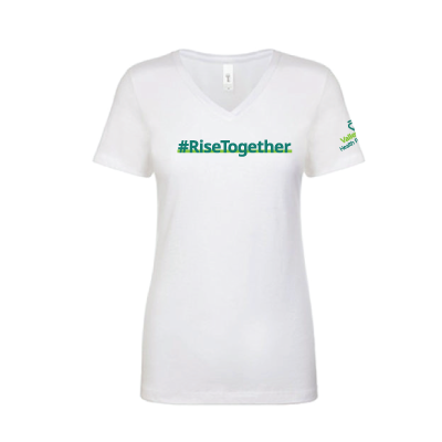 Rise Together V-Neck T-Shirt – White, Large